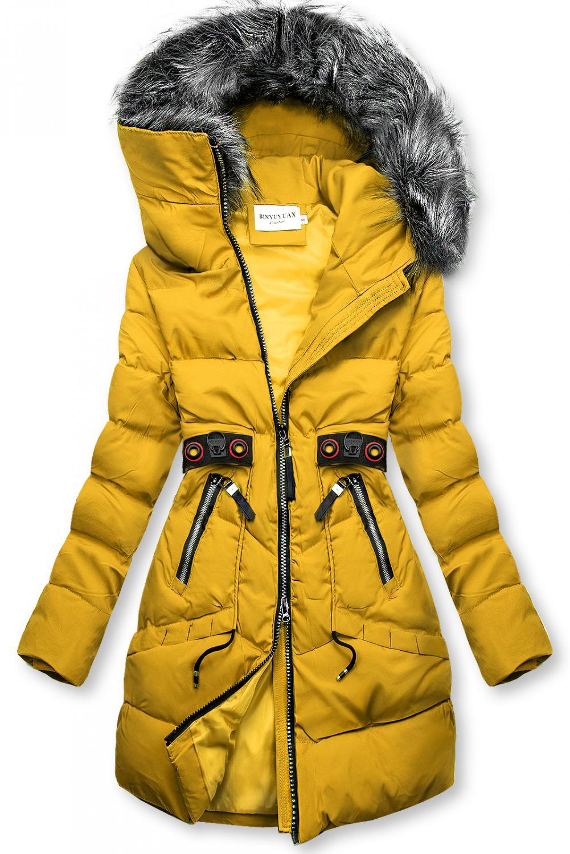 Žltá zimná bunda s čiernymi detailami. - neodopínateľná kapucňa - zapínanie na zips - odnímateľná umelá kožušina na kapucni - dve predné vrecká na zips - dekoratívne doplnky v čiernej farbe - materiál: 100% polyester, podšívka: 100%polyester