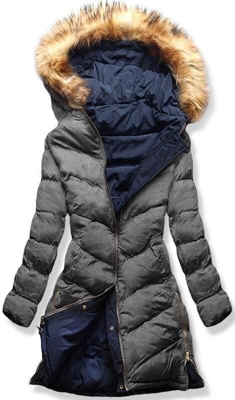 Modro/sivá obojstranná zimná bunda