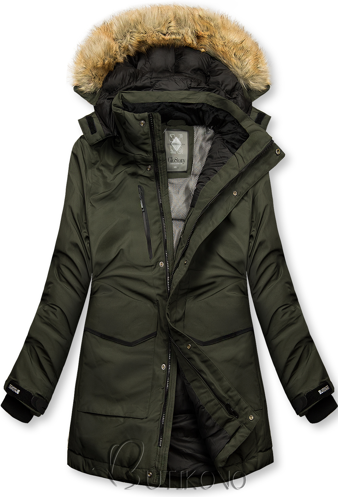 Khaki zelená zimná bunda