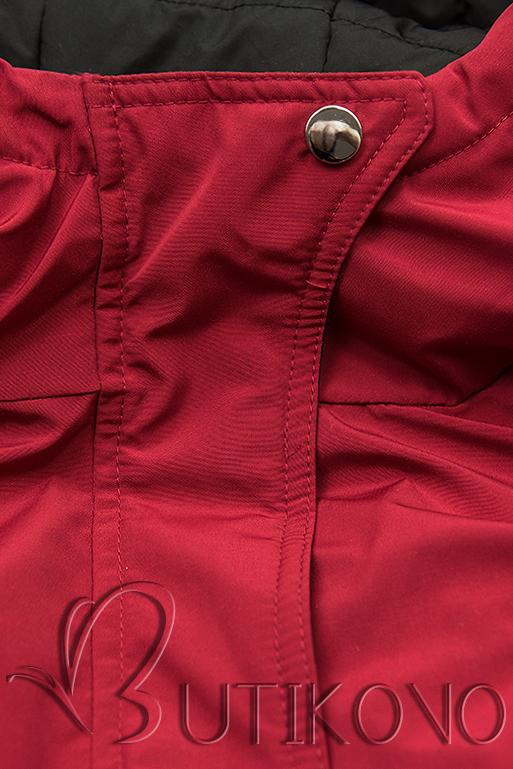 Obojstranná bunda so sťahovaním červená/čierna