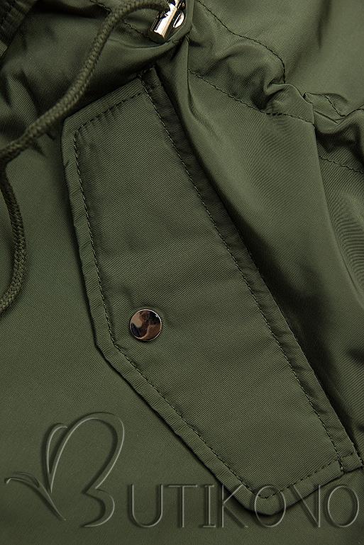 Khaki basic jarná parka s kapucňou