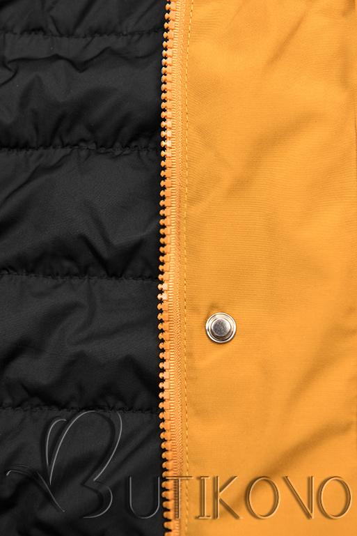 Obojstranná bunda so sťahovaním žltá/čierna