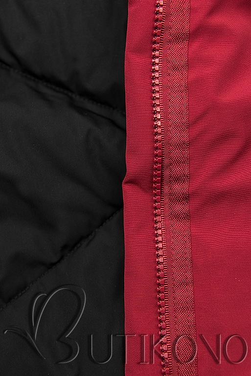 Predĺžená obojstranná parka červená/čierna