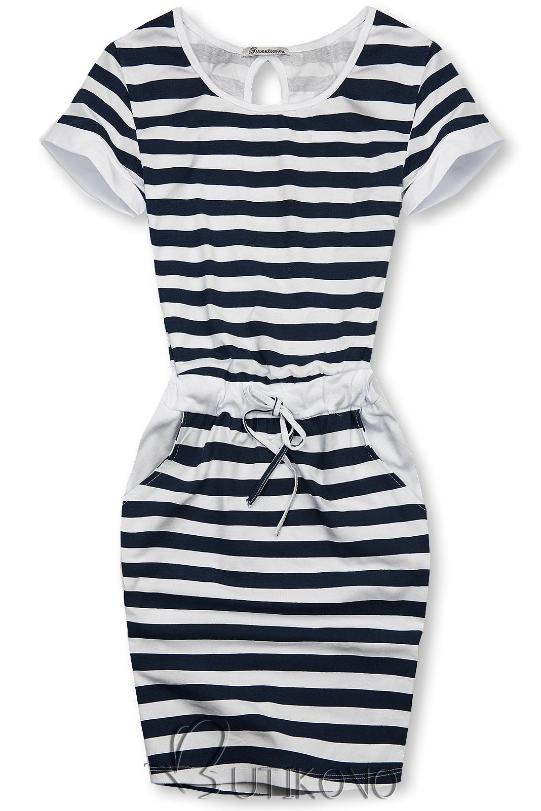 Modro-biele pruhované šaty I.