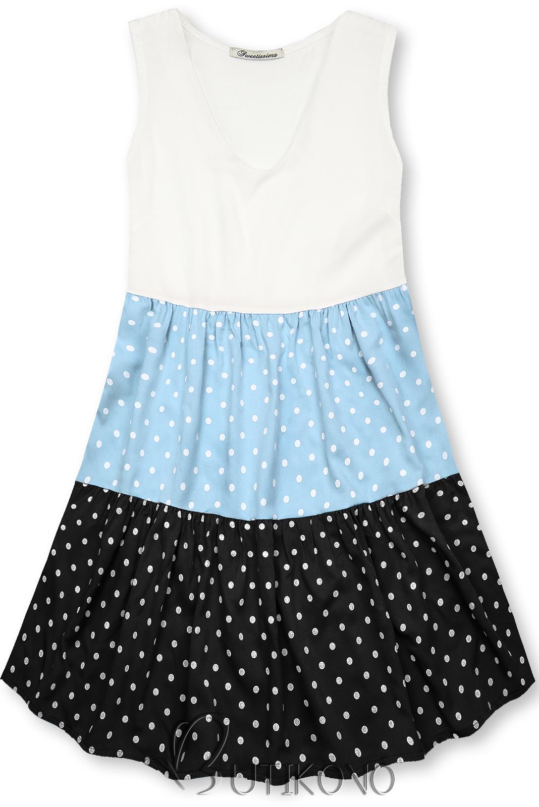 Bodkované šaty z viskózy biela/modrá/čierna