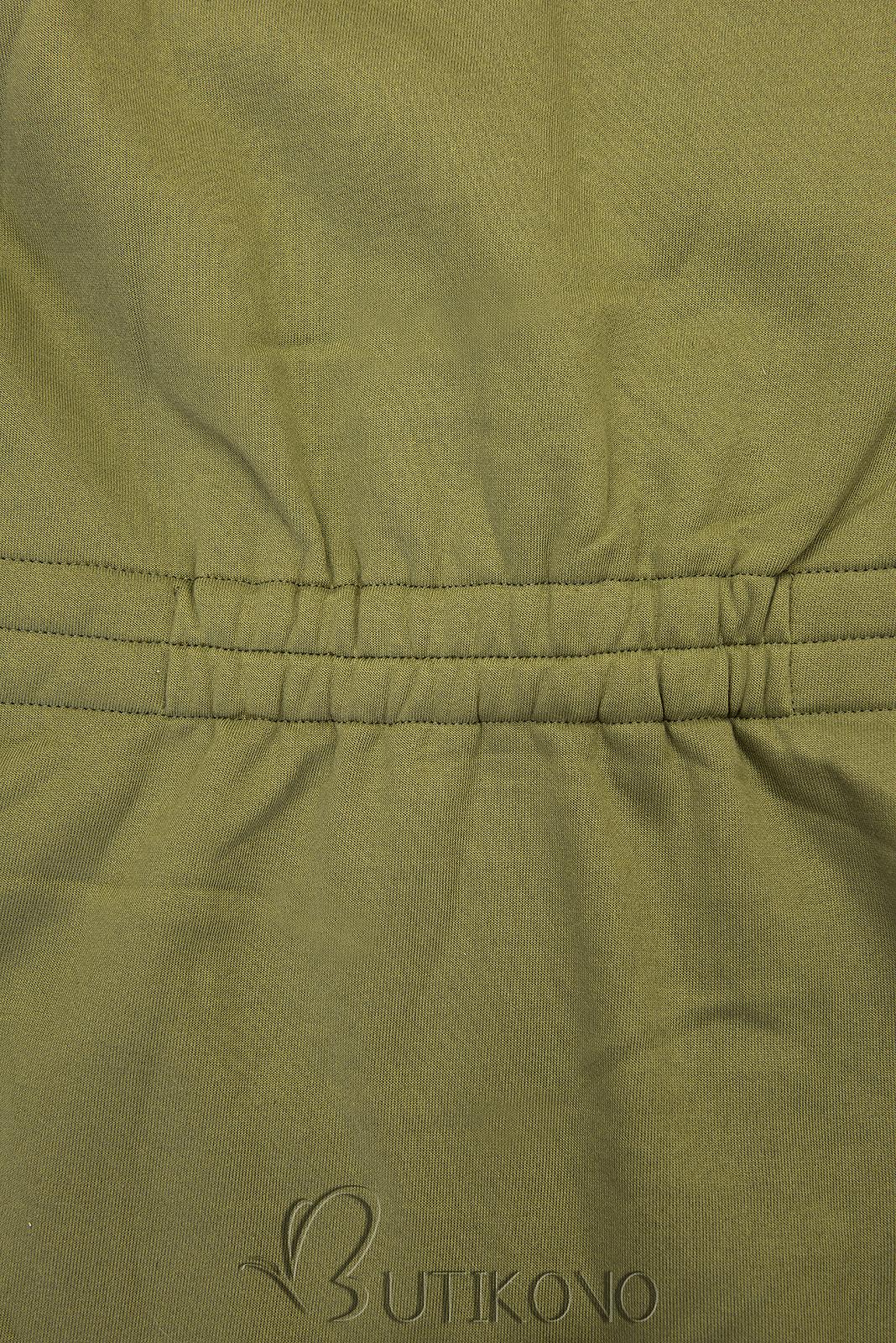 Khaki mikina s tvarovaným pásom