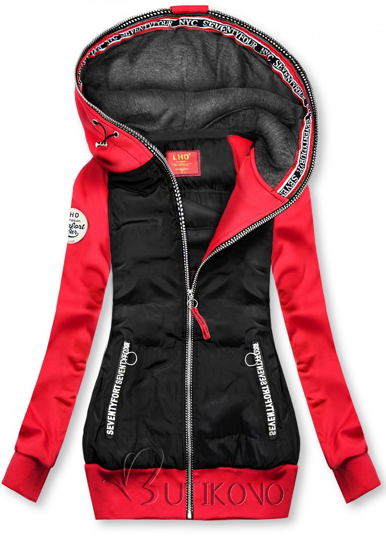 Čierno-červená kombinovaná športová mikina