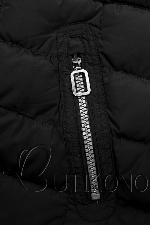 Zimná prešívaná bunda s kapucňou čierna
