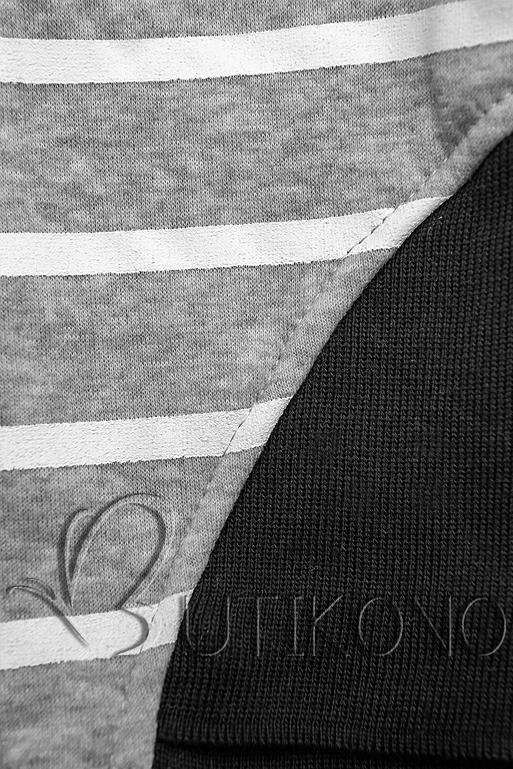 Sivo-čierna pruhovaná tepláková súprava