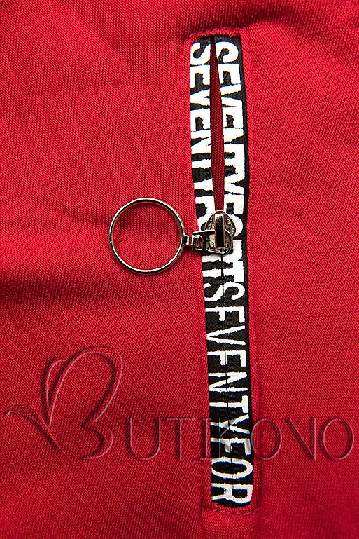 Tepláková súprava s vysokým golierom červená/čierna
