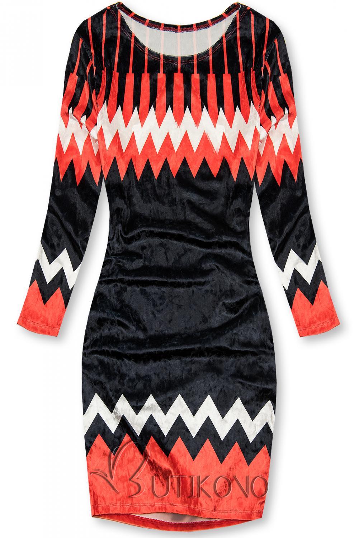 Červeno-modré zamatové šaty