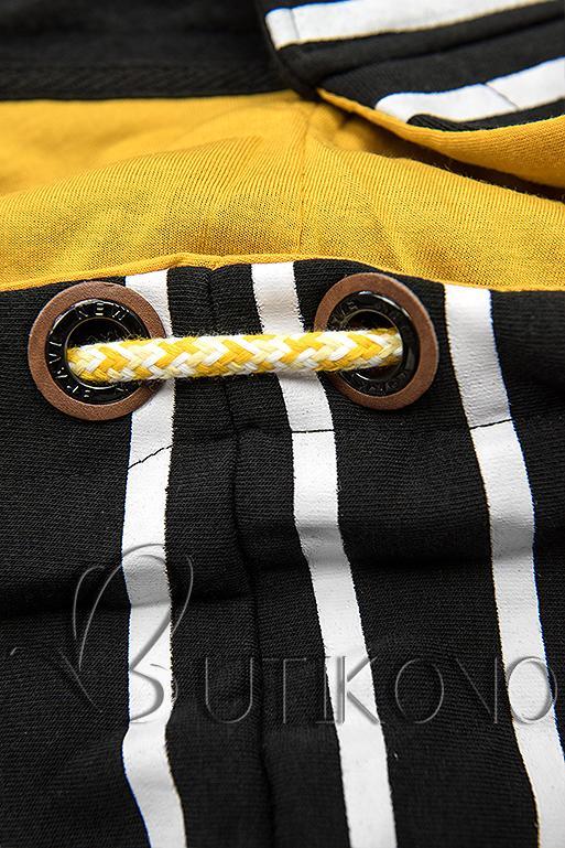 Čierna pruhovaná mikina so žltou kapucňou