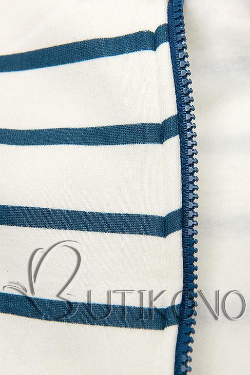 Pruhovaná mikina biela/modrá