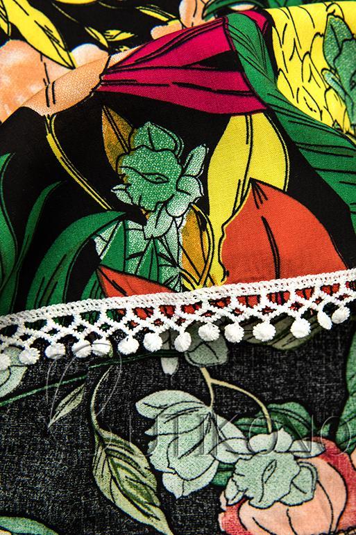 Kvetinové šortky s čipkou zelené
