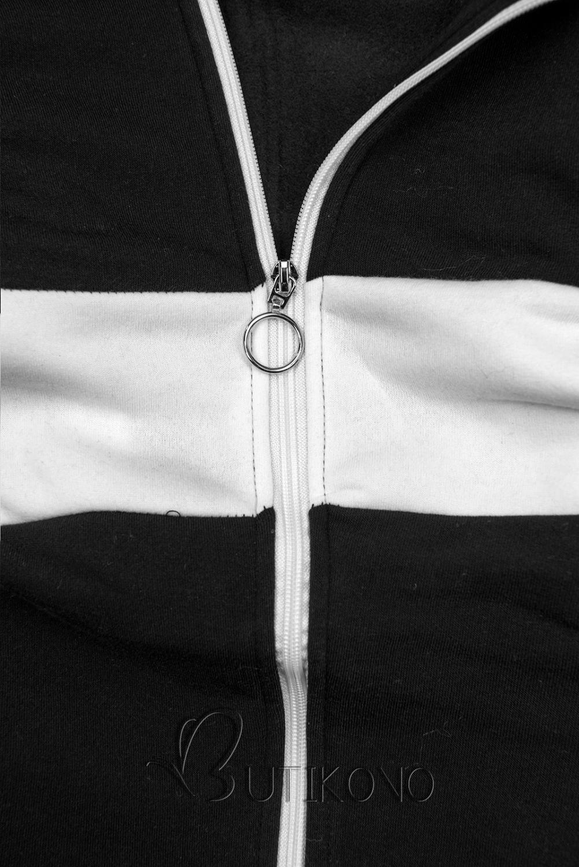 Čierno-biela dlhá mikina na zips