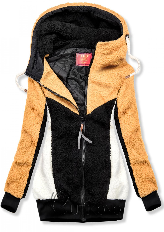 Žlto-čierna kožušinová mikina