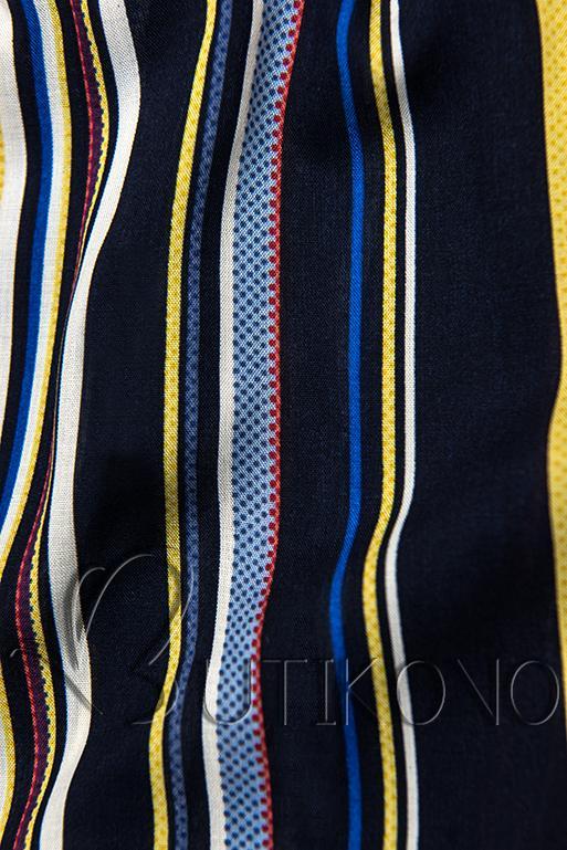 Tmavomodré pruhované šortky s čipkou