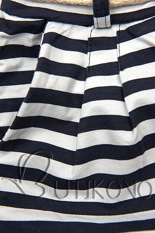 Modro-biele pruhované priliehavé šortky