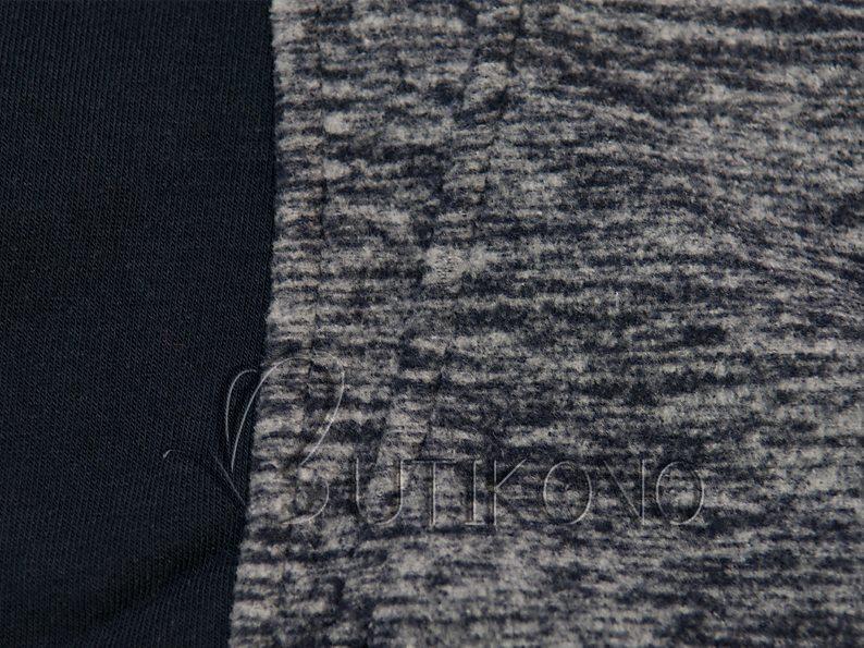 Tmavomodrá mikina s kontrastným zipsom