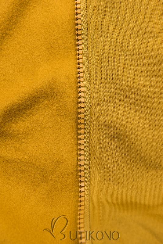 Mustard mikina so vzorovanou kapucňou