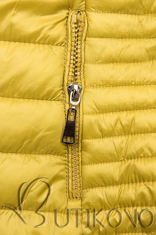 Žltá prešívaná bunda s farebnou podšívkou