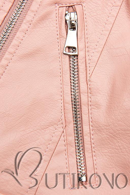 Ružová motorkárska bunda