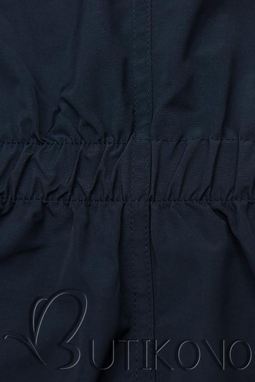 Obojstranná bunda so sťahovaním tmavomodrá