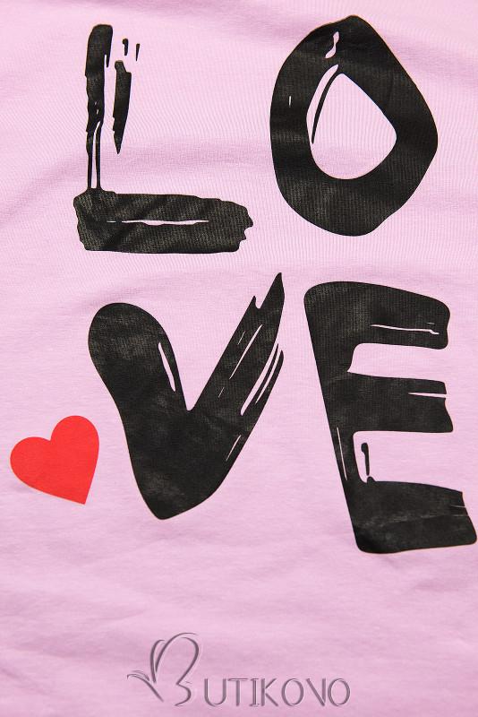 Tunika s potlačou LOVE lila