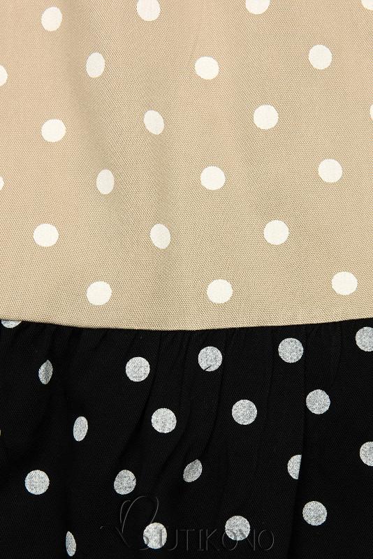 Bodkované šaty z viskózy biela/béžová/čierna