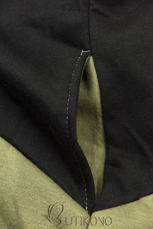 Khaki/čierna kvetinová mikina