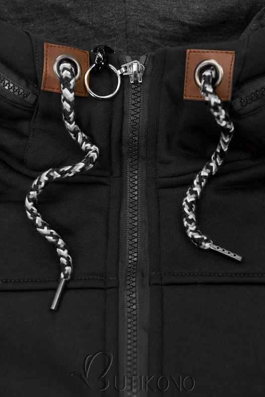 Čierna mikina s tvarovaným pásom