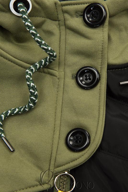Khaki mikina s kombinovanými materiálmi