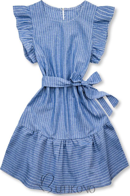 Modro-biele pruhované šaty s volánmi