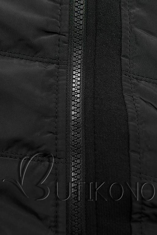 Čierna krátka kombinovaná mikina