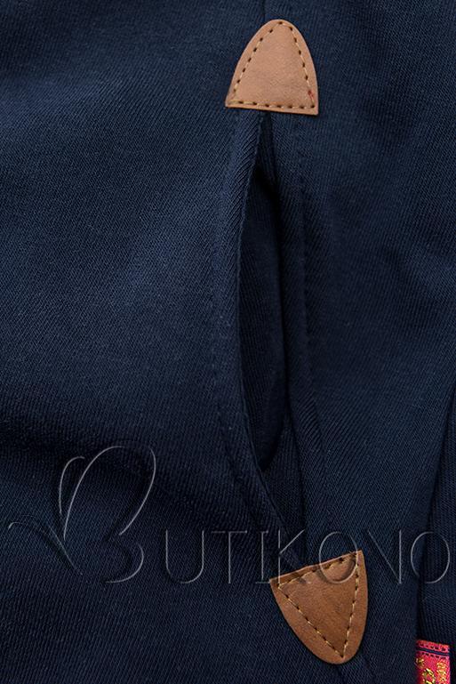 Predĺžená mikina s kapucňou tmavomodrá/sivá