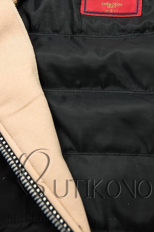 Čierno-béžová kombinovaná športová mikina