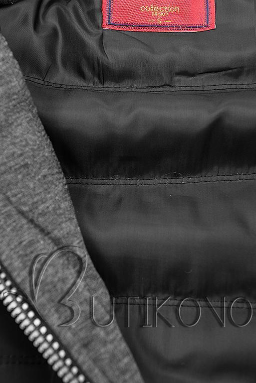 Čierno-grafitová kombinovaná športová mikina