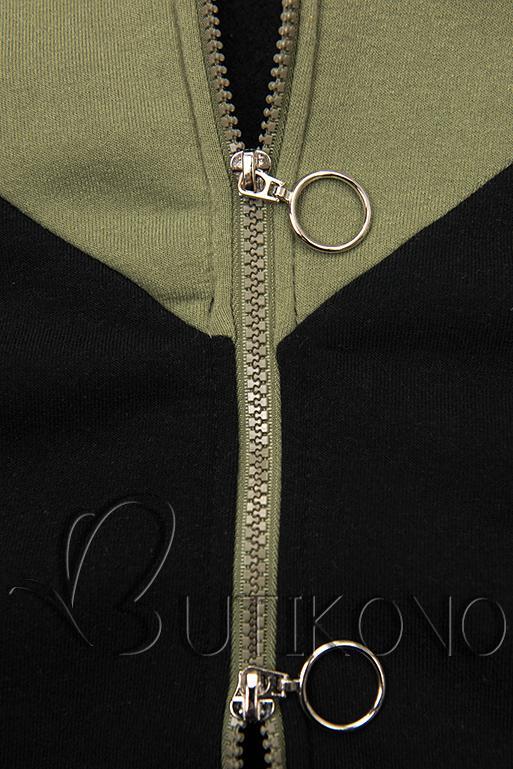 Predĺžená mikina čierna/khaki/sivá
