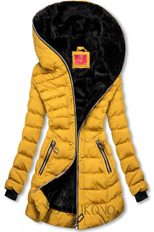 Zimná prešívaná bunda s kapucňou žltá