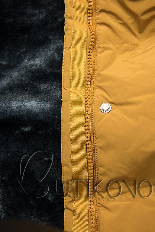 Žltá zimná bunda s plyšovou podšívkou