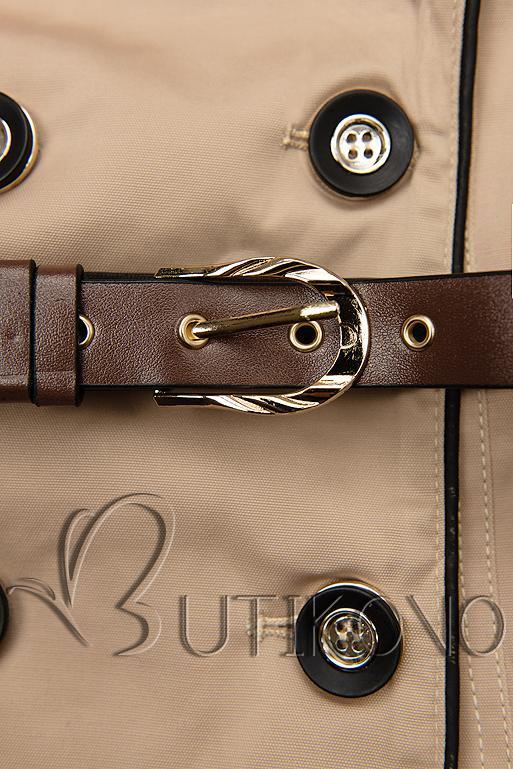 Béžový trenčkot s koženkovými detailami