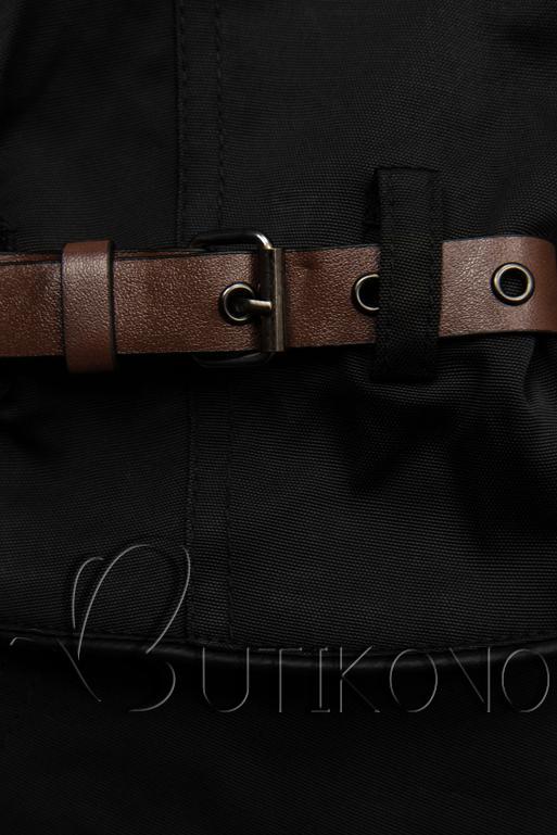 Čierny trenčkot s koženkovými detailami
