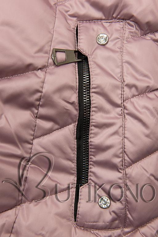 Prešívaná zimná bunda lila