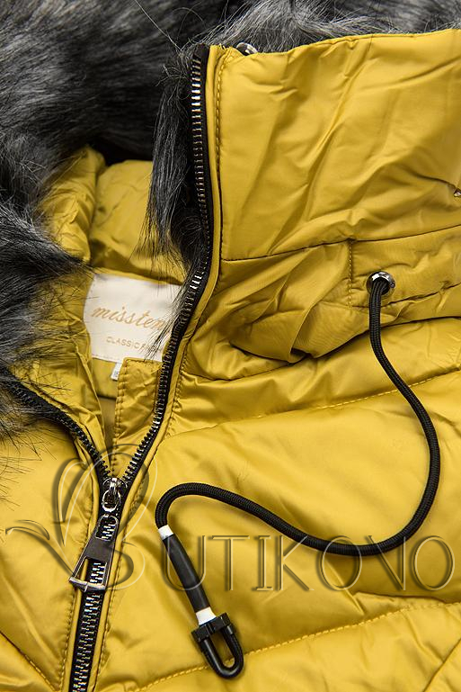 Prešívaná zimná bunda horčicovo žltá