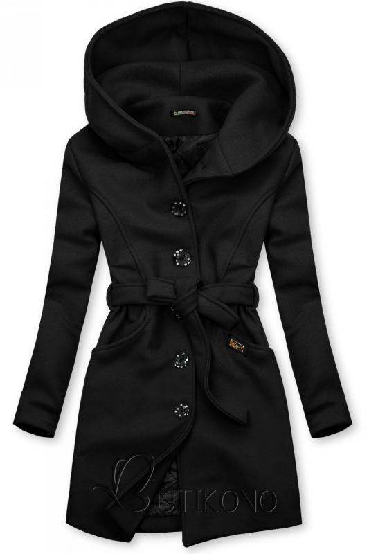 Čierny kabát s kapucňou