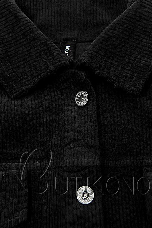 Čierna menčestrová vrchná košeľa