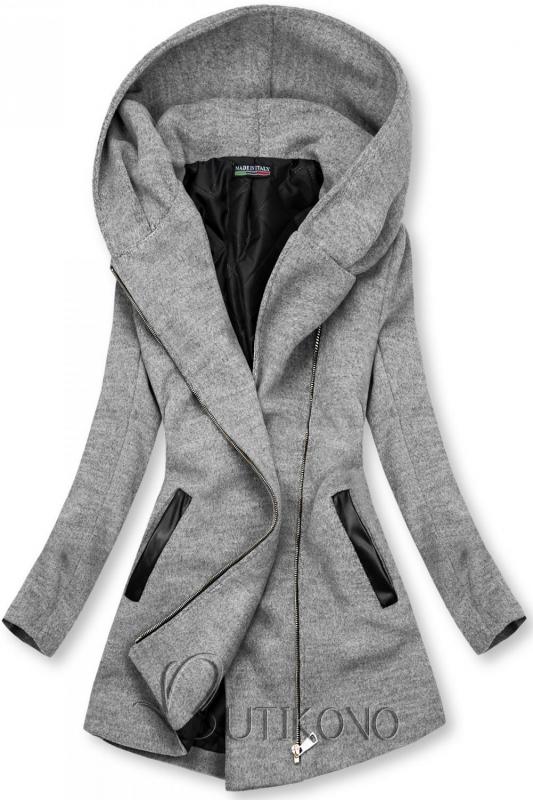 Sivý kabát s koženkovými detailami