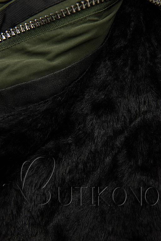 Zimná parka s odnímateľnou podšívkou khaki/čierna