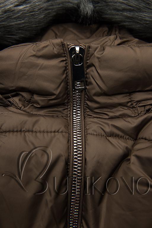 Hnedá zimná bunda s kožušinou