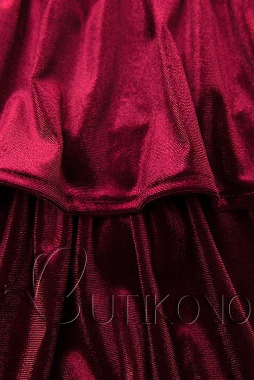 Bordové zamatové šaty s volánmi